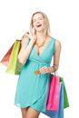 Lucky shopping portrait of happy female satisfied with her Royalty Free Stock Photography