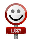 Lucky smile road sign over a white background Royalty Free Stock Photography