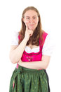 Lucky woman has found the right idea in dirndl Stock Image