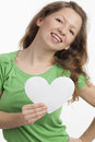 Lucky woman with heart Royalty Free Stock Photos