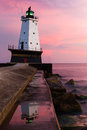 Ludington Light at Sundown Royalty Free Stock Photo