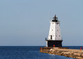 Ludington Lighthouse on Breakwater Stock Images