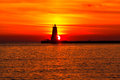 Ludington Pier Lighthouse at Sunset. Michigan USA Royalty Free Stock Photo