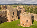 Ludlow castle england aerial view of the great hall and round chapel at shropshire Stock Photography