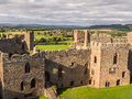 Ludlow castle england aerial view of the great hall at shropshire Royalty Free Stock Photos