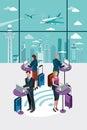 Ludzie biznesu używa laptop przy lotniskiem Obraz Royalty Free