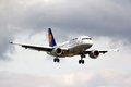 Lufthansa airbus a berlin germany august arrives to the tegel international airport Stock Images
