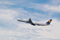 Lufthansa airbus a in flight airplane after take of from munich airport Royalty Free Stock Photos