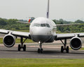 Lufthansa airbus a manchester united kingdom june taxiing on manchester international airport runway Stock Photo