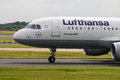 Lufthansa airbus a manchester united kingdom june taxiing on manchester international airport runway Stock Images