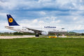 Lufthansa airbus on runway at zagreb airport a pleso in croatia taking off from Stock Image