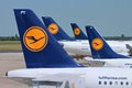 Lufthansa dusseldorf germany july multiple aircraft wait on july in dusseldorf airport germany group carried over Stock Photo