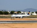 Lufthansa jet a airbus registration d aidu on the taxiway at faro airport portigal Royalty Free Stock Photos