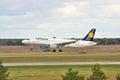 Lufthansa kiev ukraine february airbus a on final landing Stock Photography