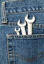 Lug wrenches in a pocket Stock Photos