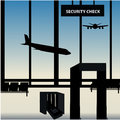 Luggage collection security check point Royalty Free Stock Photo