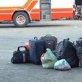 Luggage consisting of large suitcases rucksacks