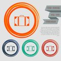 Luggage icon on the red, blue, green, orange buttons for your website and design with space text. Royalty Free Stock Photo