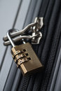 Luggage lock close up shot of locked with a combination Stock Photography