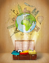 Luggage with travel around the world illustration concept on grungy background Royalty Free Stock Photo