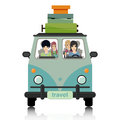 Luggage vans woman driving a van load Royalty Free Stock Images