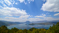 Lugu lake lies kilometers from the center of lijiang city on the border between ninglang county in yunnan province and yanyuan Royalty Free Stock Images