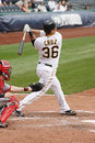 Luis Cruz of the Pittsburgh Pirates swings at a pi Stock Image