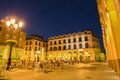 Luis lopez allue square huesca evening illumination the o at the city of attracts many people to enjoy the freshness of the hours Stock Image