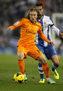 Luka modric of real madrid during the spanish league match between espanyol and at the estadi cornella on january in Stock Photos