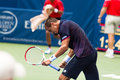 Lukas rosol plays center court at the winston salem open during his set win over jerzey jankowicz Stock Photo