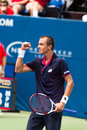 Lukas rosol plays center court at the winston salem open during his set win over jerzey jankowicz Stock Photos
