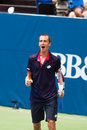 Lukas rosol plays center court at the winston salem open during his set win over jerzey jankowicz Stock Image