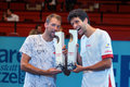 Lukasz kubot pol and marcelo melo bra vienna austria october champions pose with their trophies after their final doubles match Royalty Free Stock Photography