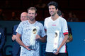 Lukasz kubot pol and marcelo melo bra vienna austria october champions pose with their trophies after their final doubles match Stock Photos
