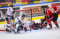 Lulea sweden march karl fabricius lulea hockey slides with full speed into opponents goalie swedish hockey le league game between Stock Photo