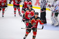 Lulea sweden march lucas wallmark lulea hockey celebrating a goal swedish hockey league game between lulea and frolunda Royalty Free Stock Photo