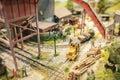 Lumber yard miniature model railway closeup Royalty Free Stock Photos