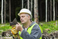 Lumberjack checking ax sharpness in forest Stock Photo