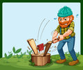 A lumberjack chopping the wood illustration of Stock Image
