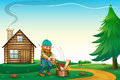 A lumberjack chopping the woods at the hilltop near the wooden h illustration of house Stock Image