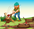 A lumberjack chopping woods illustration of Stock Image