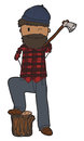 Lumberjack freehand drawn cartoon with an axe Royalty Free Stock Photo