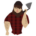 Lumberjack freehand drawn tough holding an axe Stock Images