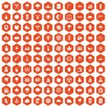 100 lumberjack icons hexagon orange
