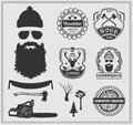 Lumberjack labels, emblems and design elements. Royalty Free Stock Photo