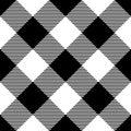 Lumberjack plaid pattern in black and white. Diagonal arrangement. Seamless vector pattern. Simple vintage textile Royalty Free Stock Photo