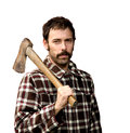 Lumberjack portrait of a woodcutter isolated on white Stock Photography