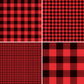 Lumberjack Red Buffalo Check Plaid and Square Pixel Gingham Patterns Royalty Free Stock Photo