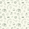 Lumberjack seamless doodle background theme including axe beard shirt trees pipe glasses hand drawn pattern for your design Royalty Free Stock Images