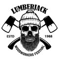 Lumberjack skull with crossed axes. Design elements for poster, emblem, sign, label. Royalty Free Stock Photo